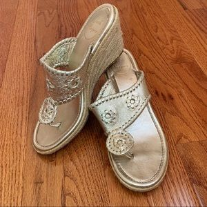 Jack Rogers Gold Marbella Mid Wedge size 6